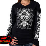 Sugar Skull Long Sleeve Ladies