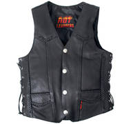 Heavy Weight Leather Vest Braided