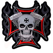 Motor and Skull Embroidered Patch
