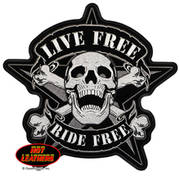 Live Free Skull Biker Patch