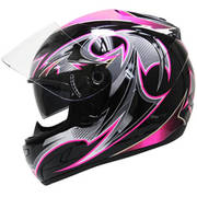 Black-Pink-Glossy Ladies Motorcycle Helmet