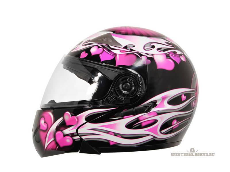 """Просмотреть все записи в рубрике  """"Спорт """".  Смотреть: Женский Мотошлем Hawk Helmets GLD-909  """"Pink Purple Hearts """"."""