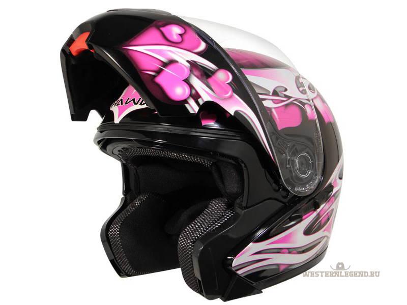 Яркий и изысканный женский мотошлем Hawk Pink Purple Hearts Modular Helmet для прекрасной половины человечества...