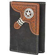Western Distressed Leather Trifold Wallet