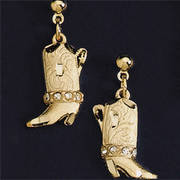 Аксессуар Gold Boot Earrings Austrian Crystals