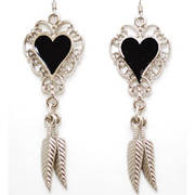 Серьги Feather Earrings Black Enamel