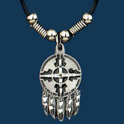 Southwest Shield Feathers Necklace