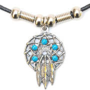 Подвеска Dreamcatcher Necklace Turquoise Beads
