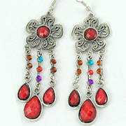 Flower Earrings Red