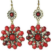 Flower Drape Earrings Red