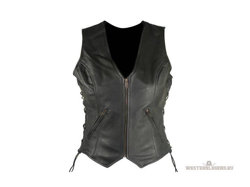 Ladies Leather Vests - Женский кожаный черный жилет на молнии и шнуровкой по бокам.