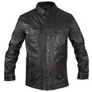 Кожаная рубашка Gun Pocket Black Leather Jacket