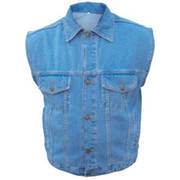 Men's Blue Denim Vest with Collar
