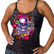 Майка (Топ) Tattoo Skull Girls Tank Top