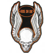 Ride or die raised wings skull patch