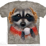 Рождественская футболка Snowball Raccoon