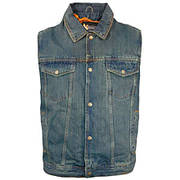 Dirty Blue Denim Motorcycle Vest