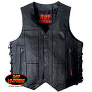 Mens Ten Pocket Leather Vest