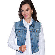 Womens Blue Denim Vest Scully