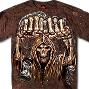 Sand Washed Jumbo Print Fist Skull