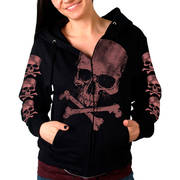 Skull Crossbones Ladies Hooded