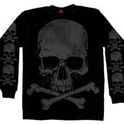 Jumbo Print Skull Cross Bones LS