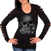Skull Bandana Ladies Slit Sleeve