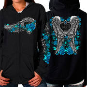 Angel Roses Zip Up Hooded Ladies