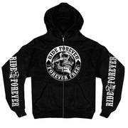 Spade Skull Zip Up Hooded
