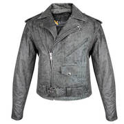 Gray Leather Jacket Gun Pockets