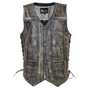 Ten Pocket Brown Leather Vest