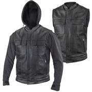 Leather Motorcycle Jacket Hoodie Convertable Vest