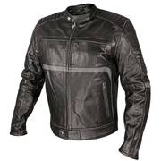 Armored Motorcycle Jacket Grey Stripe Accents