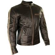 Armored Brown Leather Motorcycle Jacket Beige Stripes