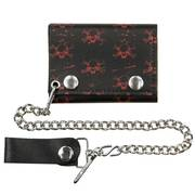 Tri-fold Small Red Skull Black Leather Wallet