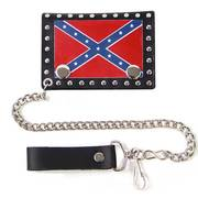 Tri-fold Rebel Flag Leather Wallet
