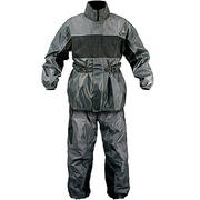 2 Piece Gray and Black Motorcycle Rainsuit