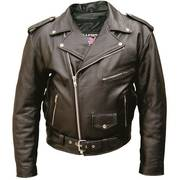 Motorcycle Jacket in Split Plain Cowhide Leather