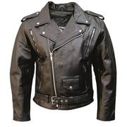 Vented Jacket Premium Black Buffalo Leather