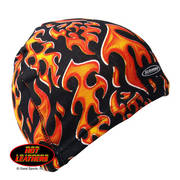 Black Skull Cap with Flames