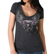 Mirror Wings Ladies Vneck Heather Charcoal T-Shirt