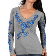 China Pattern V-Neck Silver Long Sleeve