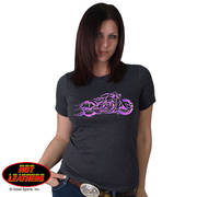 Pink and Purple Fire Bobber Full Cut Motorcycle Shirt
