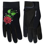 Ladies Mechanics Gloves with Rose and Rhinestones