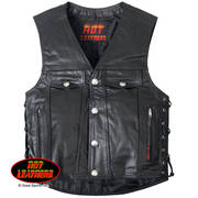 6 Pocket Leather Motorcycle Vest