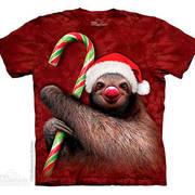 Рождественская футболка Candy Cane Sloth