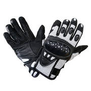 Black and White Leather Motorcycle Gloves
