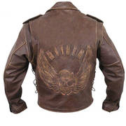Классическая куртка Premium Leather Jacket with Flying Skull