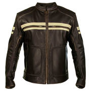 Кожаная мотокуртка Men's Brown Leather Cruiser Motorcycle Jacket