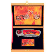 Зажигалка Motorcycle Flame Knife and Lighter Set